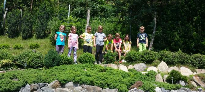 Die Kinder der 2. Schulstufe besichtigen die Weitentaler Gartenbahn